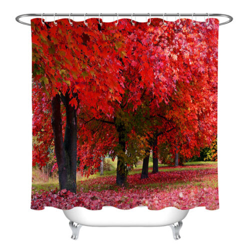 Autumn Park Red Maple Forest Bathroom Fabric Shower Curtain Set w// Free Hooks