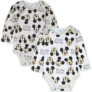 0ac71f8bd Disney Mickey Minnie Mouse Baby Boys Romper Gift Bodysuit 2-PACK Set ...