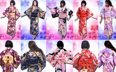 Kimono giapponese Kimono estivo accappatoio per 1//6 tbleague Action Figure Donna UK STOCK
