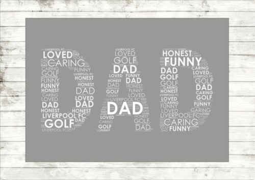 Personalised Gift Dad Shape Father/'s Day Daddy Pop Print Poster Gift Shape Dad