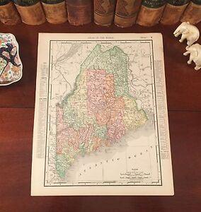 Large Original 1899 Antique Map MAINE Lewiston Augusta Portland