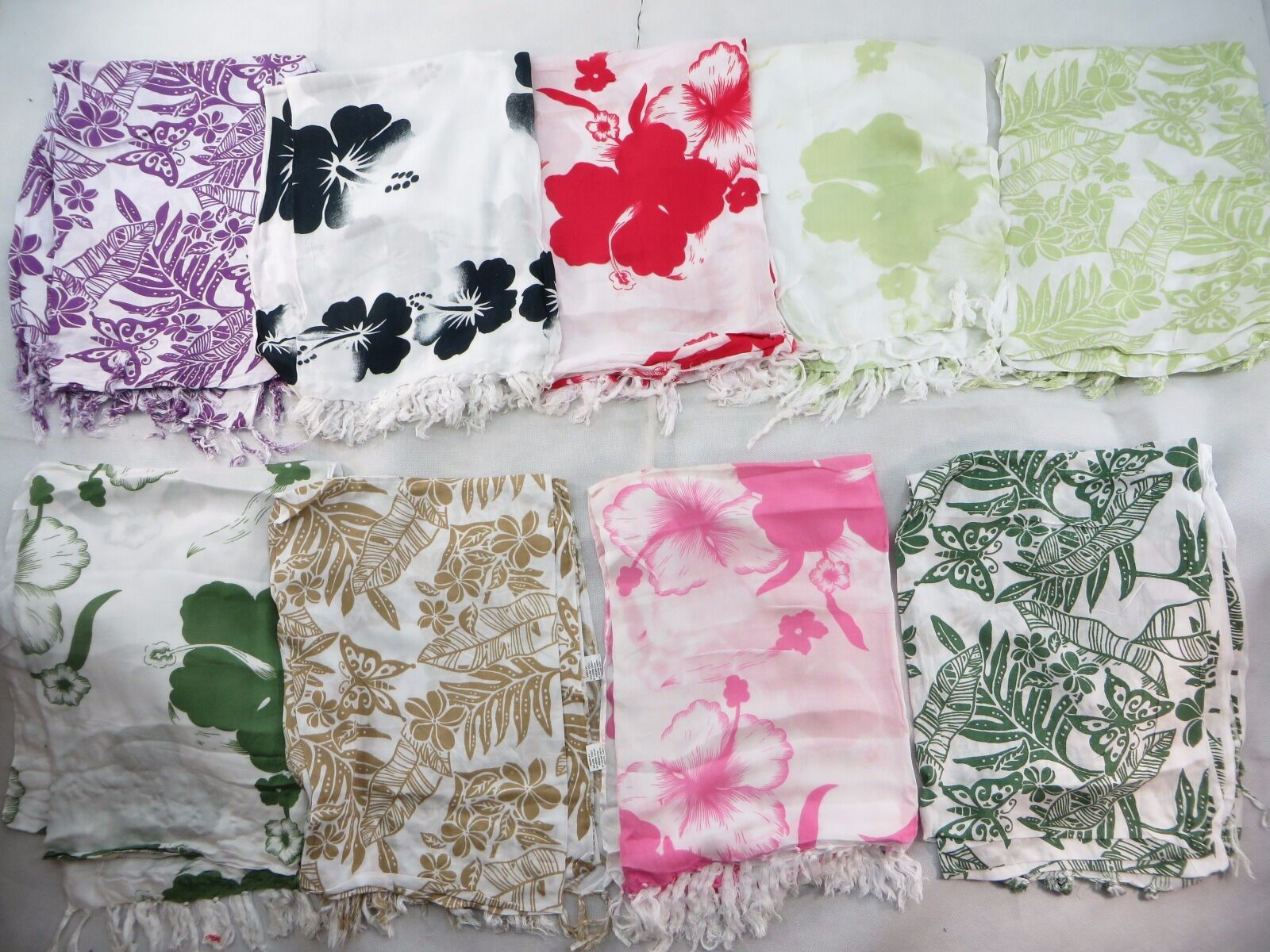 US SELLERLot of 10 aloha sarong florals plumier hibiscus palm leaf shawl...