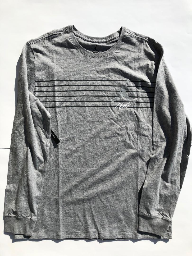 0a31f48daa Jordan Flight Lines T Shirt Long Sleeve Mens Large Gray Bq1443-091 ...