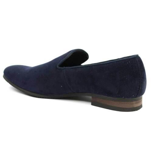 New Mens Dress  Shoes Slip On Navy Suede Loafers Modern Denim Friendly AZAR MAN