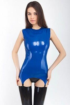 100% Latex Rubber Top With Garters For Stockings Designer Party
