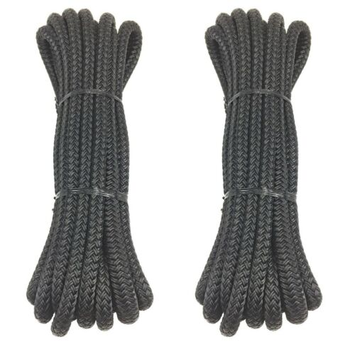 12mm Pre-Spliced Polyester Braided Docklines Mooring Ropes Black 2 x 10 Metres