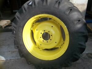 TWO-13-6x28-13-6-28-R1-12-Ply-Tractor-Tires-on-4-Double-Loop-Wheels-w-Centers