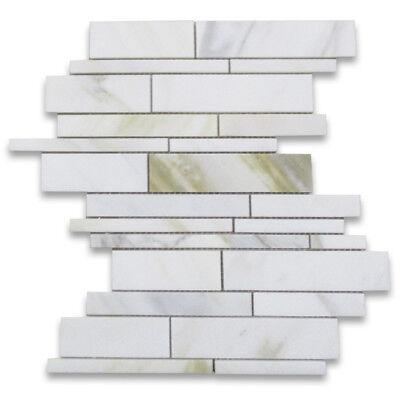 G78XP Calacatta Gold Random Strip Modern Brick Mosaic Tile Polished