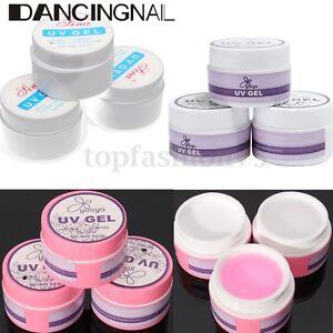 Gel-UV-Ricostruzione-Unghie-Rosa-Bianco-Trasparente-Nail-Art-Manicure