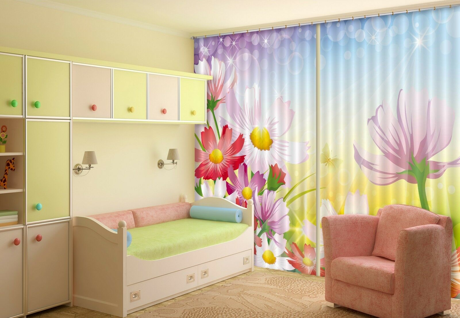 3D Flores 707 Cortinas de impresión de cortina de foto Blockout Tela Cortinas Ventana au