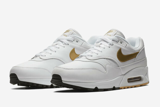info for 09c2d edb15 NIKE AIR MAX 90/1 MEN'S SHOES [SIZE 8] WHITE/METALLIC GOLD/BLACK AJ7695-102