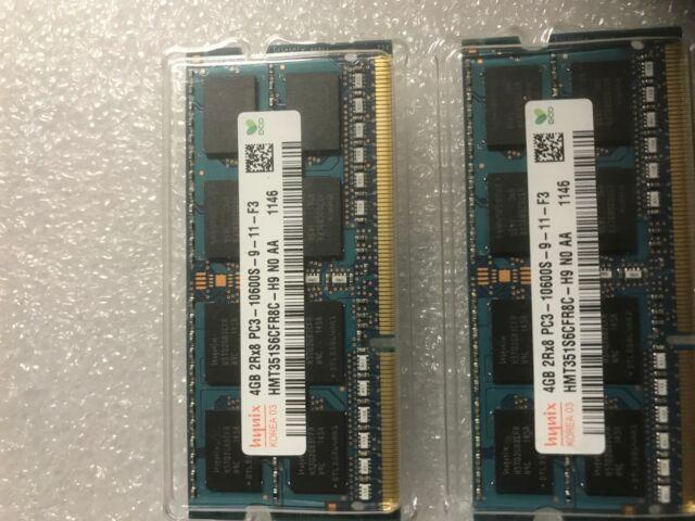 2x4GB PC3-10600 DDR3-1333 SODIMM Laptop Memory RAM HMT351S6BFR8C-H9 Hynix 8GB