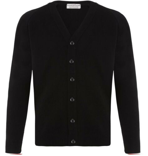 UK KNITTED... PLAIN CLASSIC BLACK CARDIGAN JUMPER FITTED BUTTON UP SLIM SWEATER