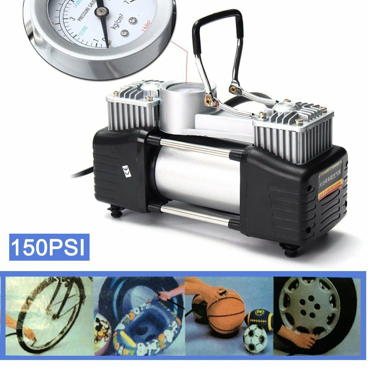 12V 150PSI Heavy Duty Double Cylinder Air Pump Compressor Car Tyre Inflator 8G