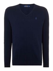 Slim Lauren Hunter Sweater Ralph 'polo' xxl Fit Cotton S neck Navy V Men's B6p0qwZRO