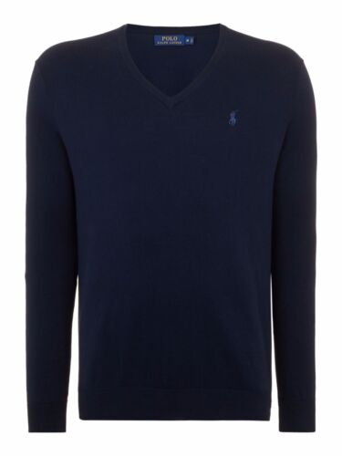 "Ralph LAUREN MEN/'S /""Polo/"" V-Neck Maglione cotone-Slim Fit-Hunter Blu Scuro-S-XXL"