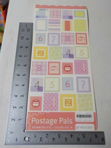 AMERICAN CRAFTS POSTAGE PALS NUMBERS COLOR SET B STICKERS SCRAPBOOKING A3103