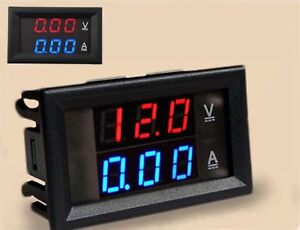 DC-Voltmeter-Ammeter-100V-10-Amp-Blue-Red-LED-Dual-Digital-Volt-Amp-Meter-Gauge