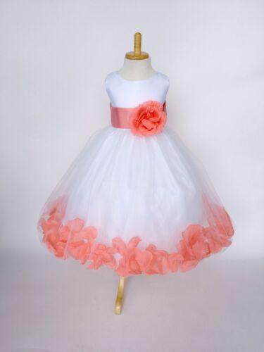 White Tulle Burgundy Rose Petal Dress ALL SIZES Flower Girl Recital Party #24