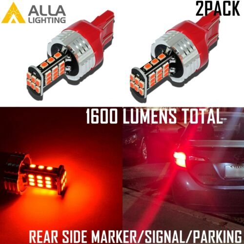 Red Alla Lighting 7443 30-LED Rear Side Marker Signal Light Bulbs Parking Lamps
