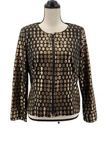 Joseph-Ribkoff-Womens-Lightweight-Jacket-Black-Gold-14-Geometric-Zipper-Metallic