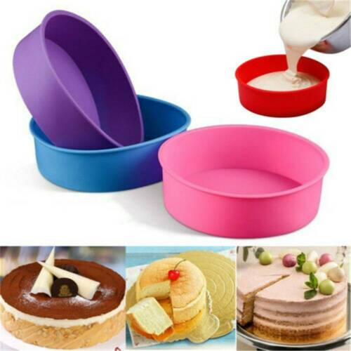 """4/"""" Silicone Round Bread Mold Cake Pan Muffin Mould Bakeware Baking Tray Tool .N"""