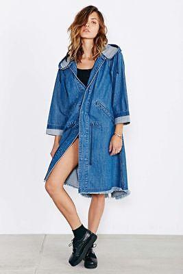 AZY4UO Urban Outfitter denim Reversible Coat Black Blue Sizr MED brand new T7
