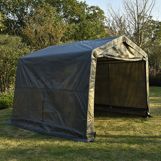 10'x10'x8'FT Storage Shed Shelter Car Garage Steel Shade Canopy Carport Tent