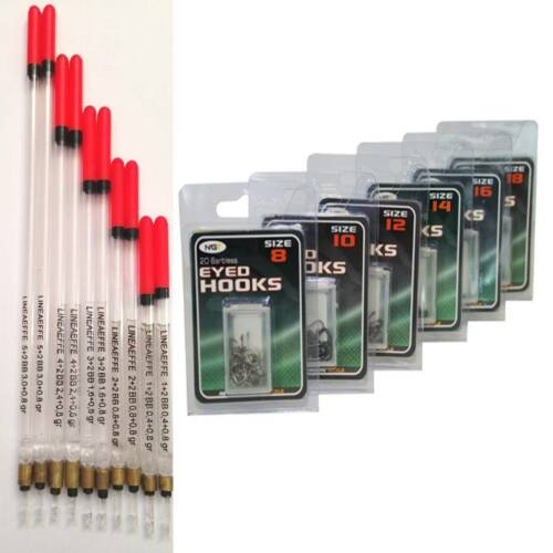 120 Eyed Coarse Barbless hooks 8-18 10 New Loaded Fishing Clear Waggler Floats