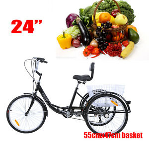 Ridgeyard-24-034-Adult-Tricycle-3-Wheel-Shimano-7-Speed-Bicycle-Trike-Cruiser-BLK