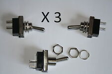 Heay deber Toggle Flick Switch 12v On/off coche DASH metales ligeros (Pack De 3)