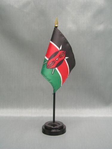 "KENYA 4X6/"" TABLE TOP FLAG W// BASE NEW DESK TOP HANDHELD STICK FLAG"
