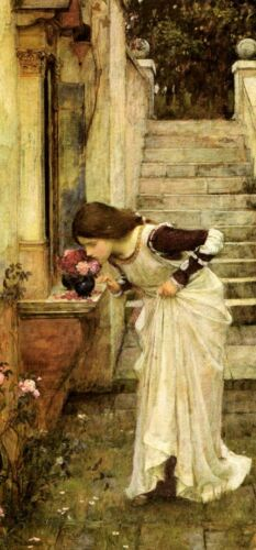 LADY GIRL THE SHRINE FLOWERS SMELL 1895 FINE PAINTING BY J W WATERHOUSE REPRO