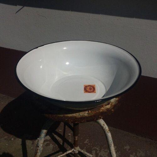 Vintage Enamel Wash Bowls White 40cm  Mint  ex military hospital Four 4