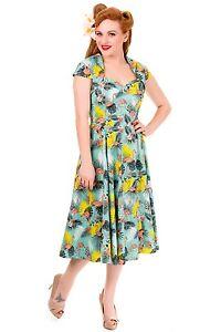 Women-039-s-Flamingo-Tropical-Cap-Sleeve-Vintage-Swing-Rockabilly-Flared-Dress-3XL