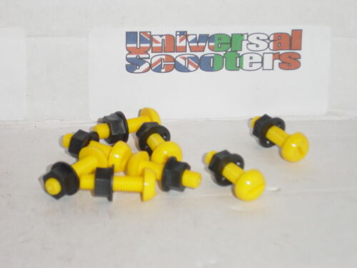 Yellow x2 Number Plate Mounting Plastic Nut /& Bolt