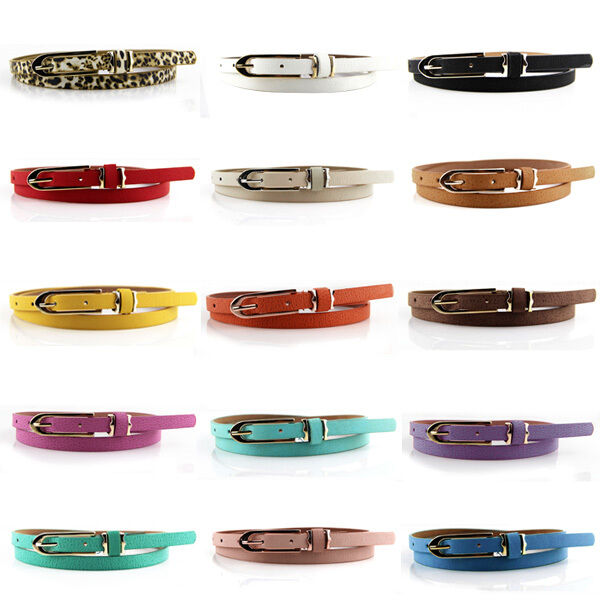 Fashion Women Lady Multicolor Waistband PU Leather Thin Skinny Belt Buckle