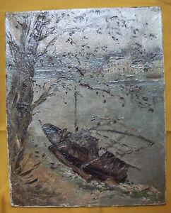 peinture-huile-sur-toile-ancienne-bateau-de-peche-par-Charles-HOMUALK