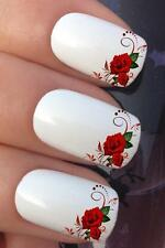WATER NAIL TRANSFERS RED ROSE & LEAVES FRENCH TIP WATER DECALS STICKERS *641