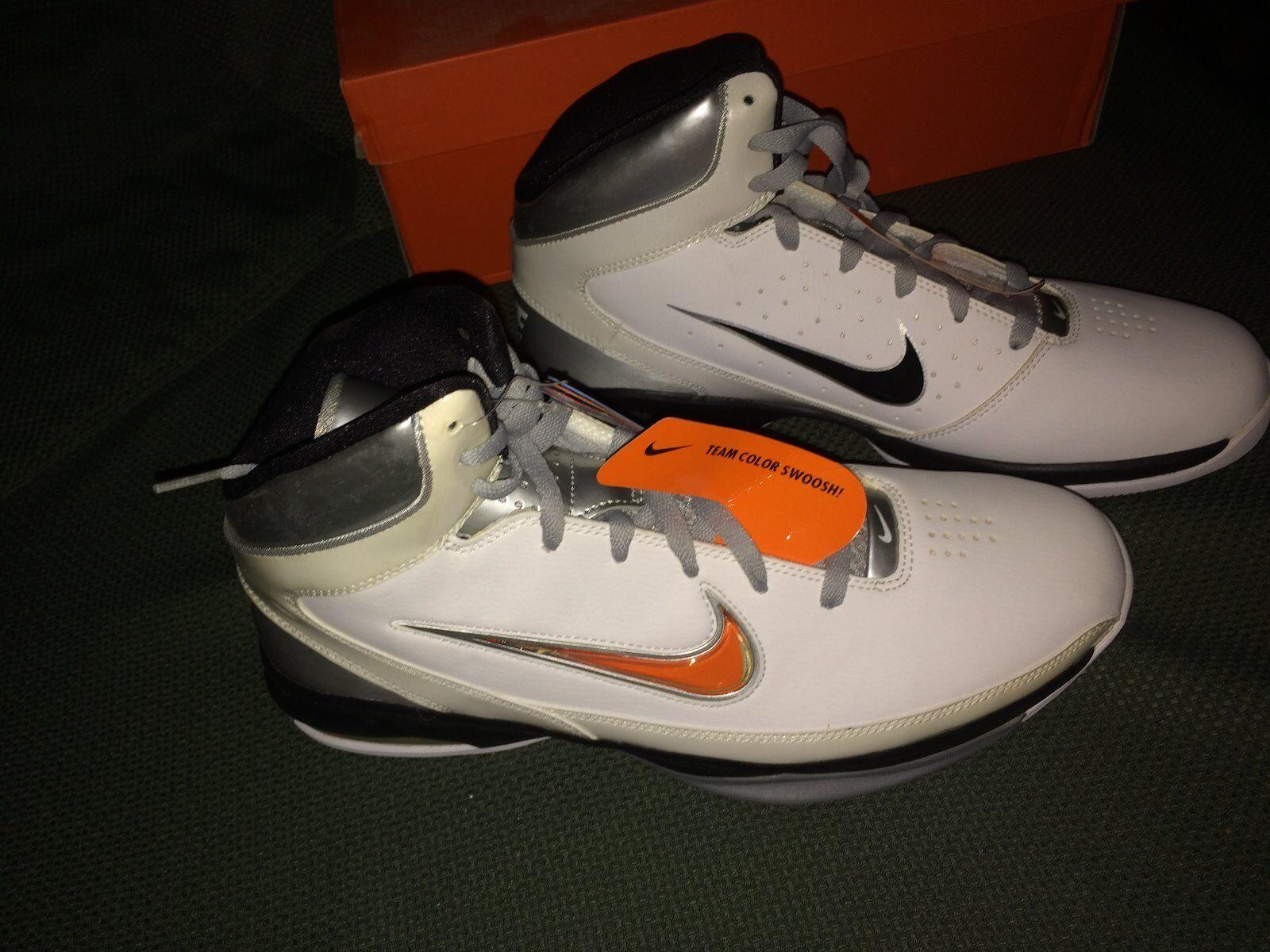 Nike air max hochgespielten int tb weiße schwarze traf silberner basketball turnschuhe us - 11.
