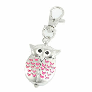 SILVER OWL POCKET FOB WATCHMINIATURE CLOCK PINK WINGS OPEN TO REVEAL THE TIME - BRANDON, SUFFOLK, United Kingdom - SILVER OWL POCKET FOB WATCHMINIATURE CLOCK PINK WINGS OPEN TO REVEAL THE TIME - BRANDON, SUFFOLK, United Kingdom