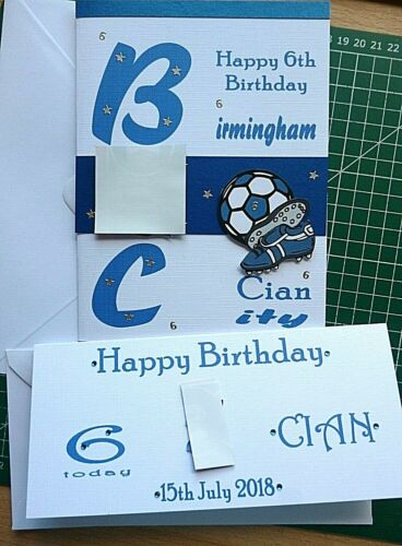 Personalised Hand made A5 Men/'s Boys Any Football team card free gift tag