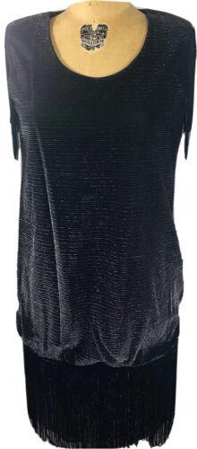 Vintage Black Evening Dress 80s Flapper Gatsby Par