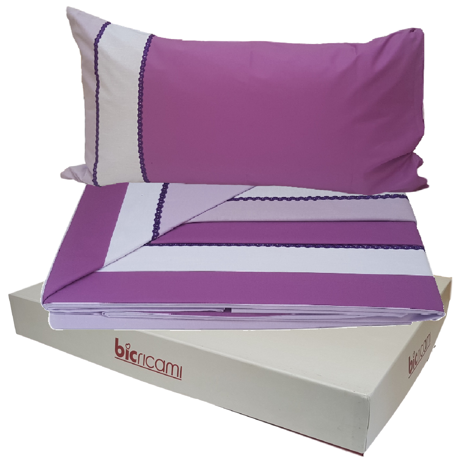 BIC Embroidery. Full Sheets, Bed - 4851 - 100% Cotton. Double, 2 squares