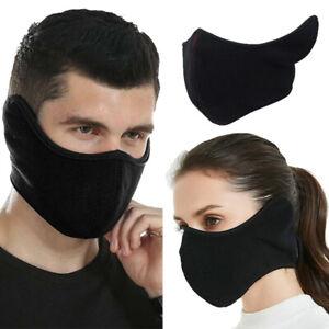Black Winter Thermal Fleece Half Face Mask Ear Muff Anti Wind Breathable Warmer Ebay