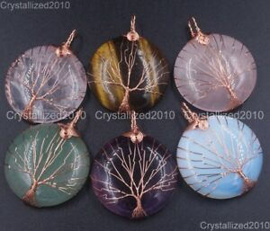 Natural-Gemstones-Tree-Life-Round-Reiki-Chakra-Healing-Pendant-Beads-Rose-Gold