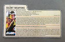 G.I. Joe/Cobra_1985 Quick Kick *Silent Weapons* Filecard/Accessory_Beautiful!!!