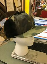 Mackinaw Hat Cap Black Camo Furry Ear Flap Elmer Fudd Hunting Vintage XLarge USA