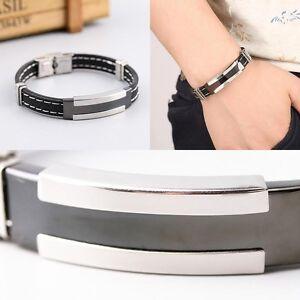 Herren-Schwarz-Punk-Leder-Edelstahl-Armband-Haken-Stulpe-Armband-Armband