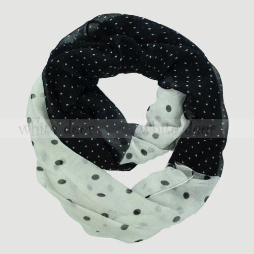 Polka Dot Print Cut Block Circle Loop Wrap Infinity Scarf Multi Color Soft